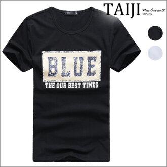 潮流短T‧BLUE印花圓領棉質休閒短T‧二色【ND31103】-TAIJI-多色/混搭/棉T