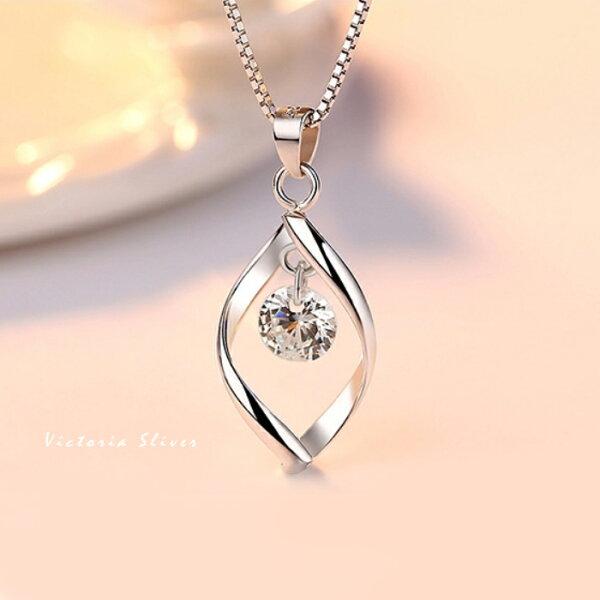 S925銀柔水鋯鑽項鍊-維多利亞180554
