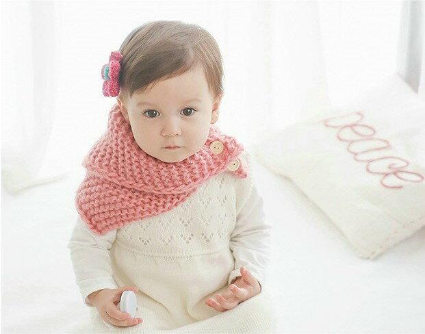 《任意門親子寶庫》韓版冬天毛線圍巾 男童女童【BS182】鈕扣毛線針織圍脖