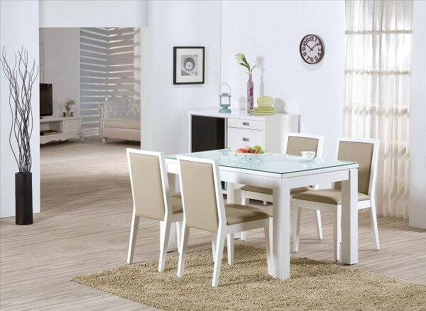 【石川家居】YE-A459-01喬伊白色白玻餐桌(不含餐椅及其他商品)台北到高雄搭配車趟免運