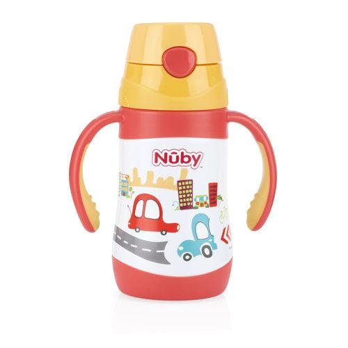 『121婦嬰用品』Nuby不鏽鋼真空學習杯-汽車(細吸管) 280ml