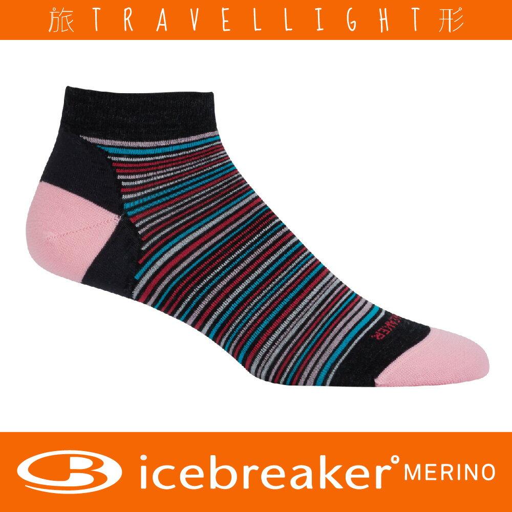 【Icebreaker】女款休閒船型襪 黑/粉 美麗諾羊毛 Travellight旅形