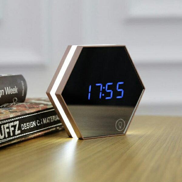 質感 鏡子 鬧鐘 時鐘 六角形 USB 可充電 可調光 小夜燈 溫度計 化妝鏡 居家 辦公 時尚 『無名』 M02100