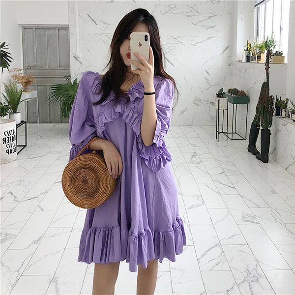 超美荷葉邊娃娃裝洋裝寬鬆連衣裙魚尾木耳邊短袖顯瘦女神浪漫海邊紫白韓國ANNAS.