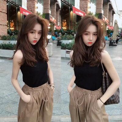 韓系女裝圓領素面背心+高腰闊腿褲休閒兩件套套裝樂天時尚館。預購