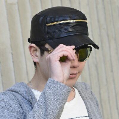 鴨舌帽真皮棒球帽-拉鍊裝飾平頂羊皮男帽子73rq13【獨家進口】【米蘭精品】