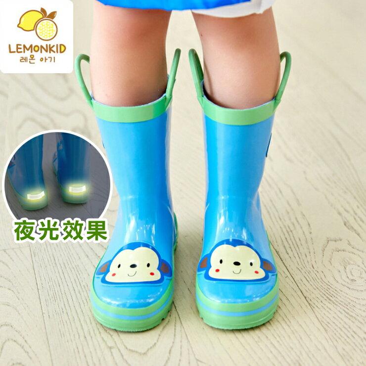Lemonkid◆活力小花猴子安全夜光設計手提式提環橡膠兒童雨鞋-藍色