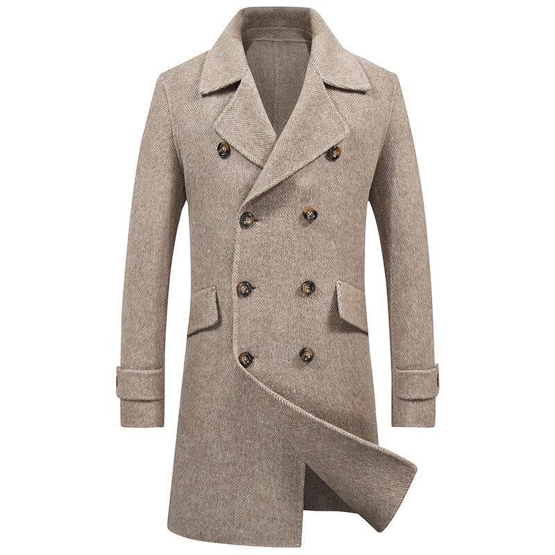 毛呢大衣中長版風衣-純色雙排扣翻領羊毛男外套2色73wk28【獨家進口】【米蘭精品】 0