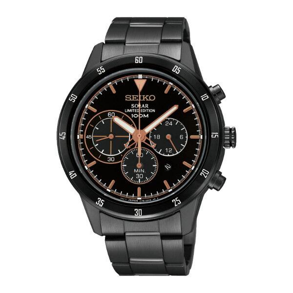 Seiko Spirit V175-0DC0G(SSC339P1)極致競速黑金太陽能計時腕錶/黑面41mm