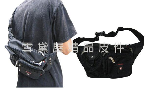 ~雪黛屋~SPYWALK臀包中容量內可放5.5寸手機隱藏水瓶網袋胸前包防水尼龍布貼身防盜隨身物品014S6107
