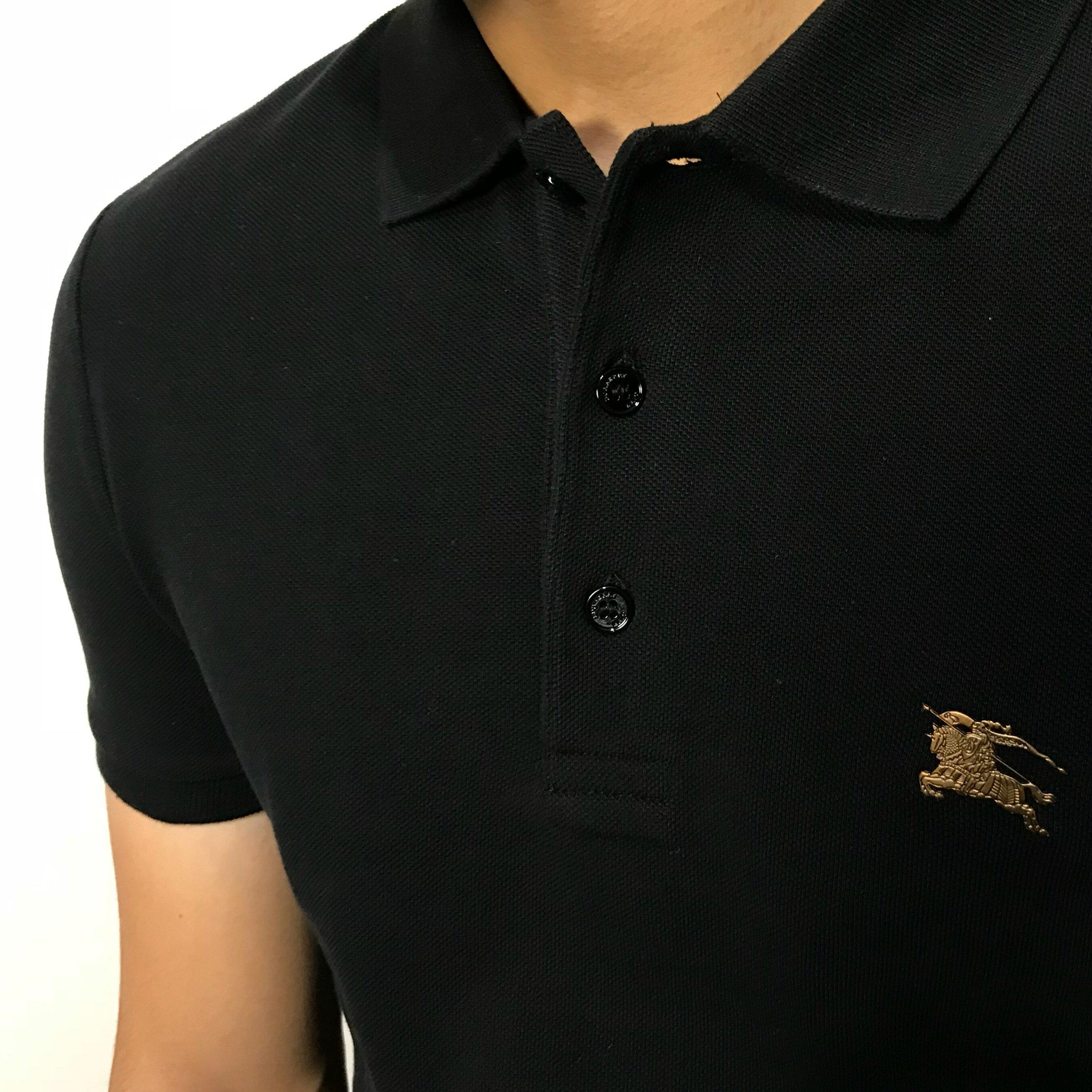 美國百分百【全新真品】Burberry 短袖 polo衫 素面 金戰馬 logo 英倫 精品 黑色 J698