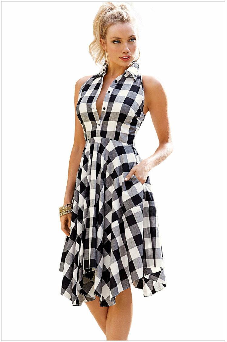歐美時尚新款黑白格子印花無袖不規則裙擺襯衫式連身裙洋裝 61513