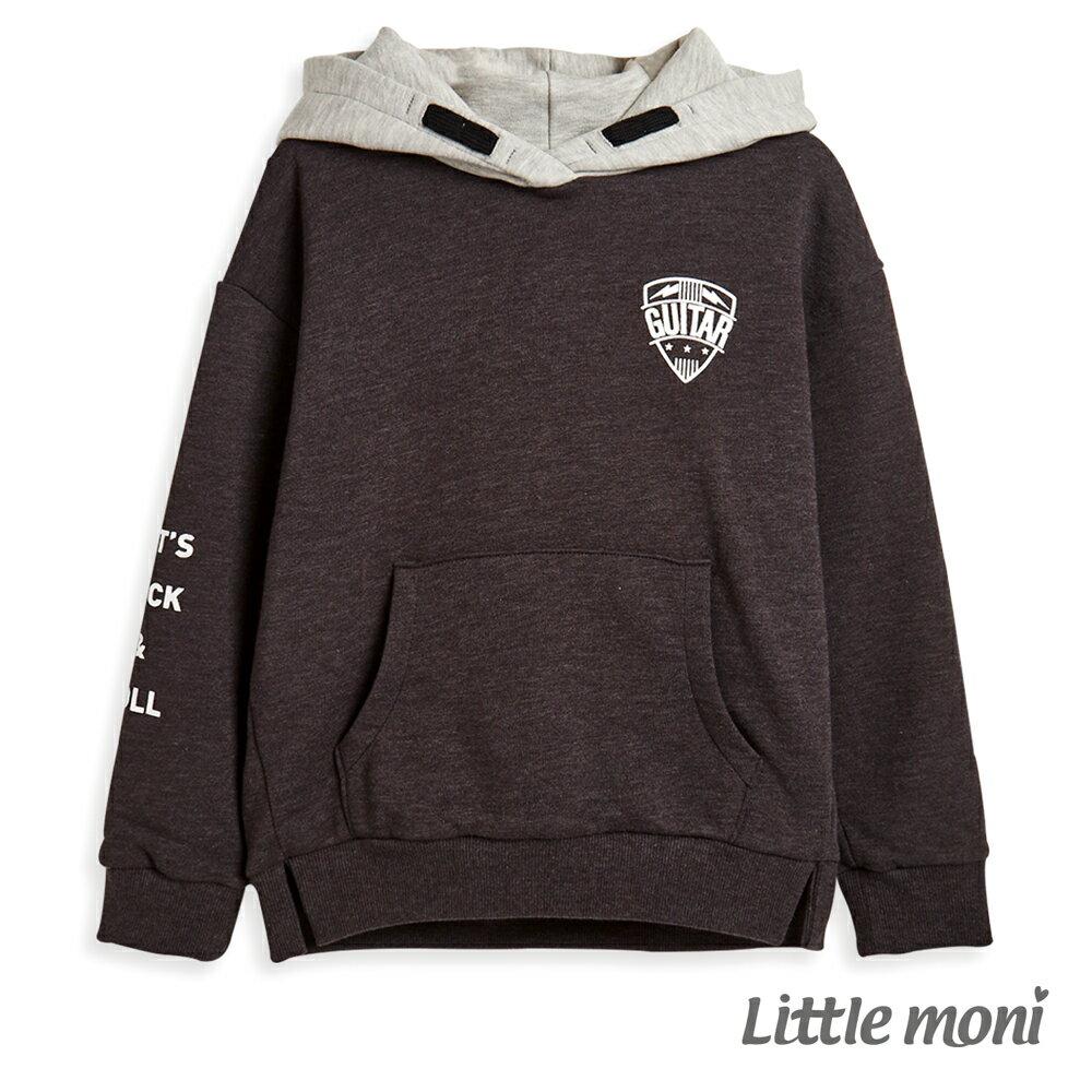 Little moni 連帽撞色刷毛運動衫 -鐵灰(好窩生活節) 0