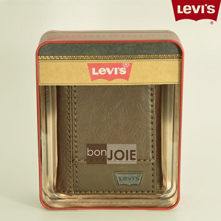 ::bonJOIE:: 美國進口 新款鐵盒裝 Levi's 三折直立式透明窗皮夾 (混搭風) Levis 三折式 短夾 實物拍攝 皮夾