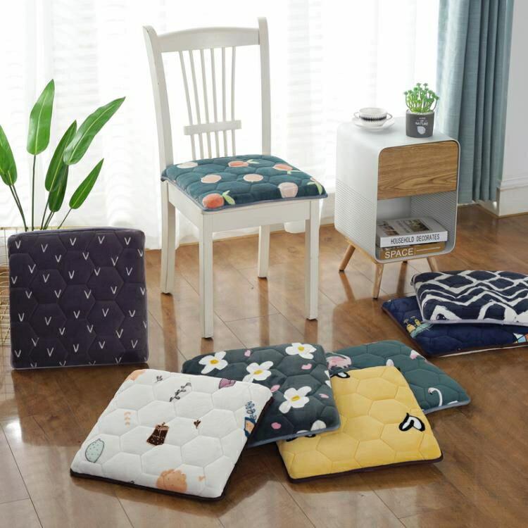 坐墊 冬季加厚可拆一體座墊辦公室餐椅墊久坐防滑椅子增高學生毛絨坐墊
