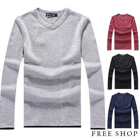 《全店399免運》針織衫 Free Shop【QM668】日韓系時尚簡約百搭款簡約素色素面保暖舒適小V領針織衫毛衣 四色