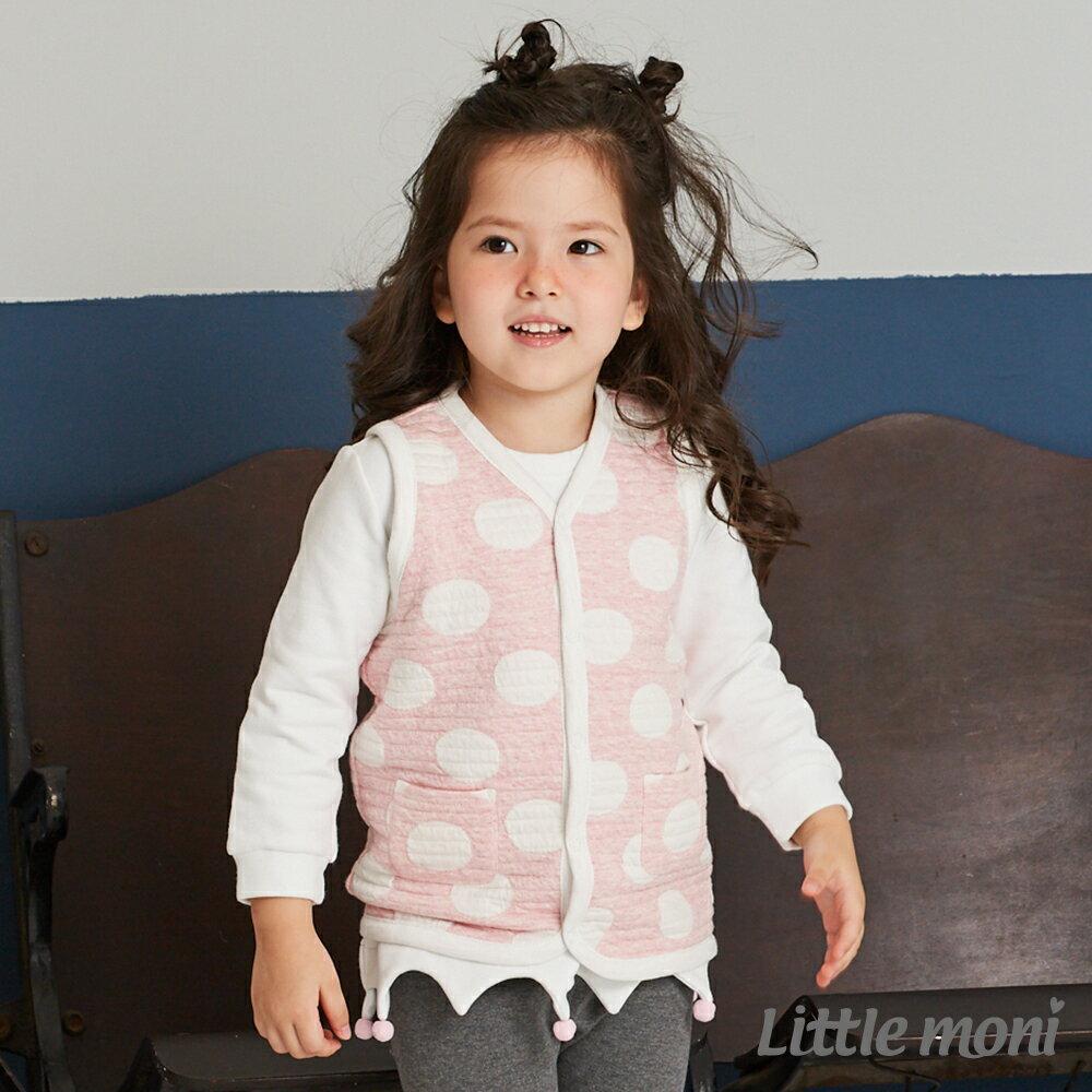 Little moni 雙面穿點點鋪棉背心-粉紅(好窩生活節) 1