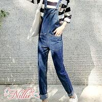 牛仔/丹寧服飾到Nillie‧素色雙口袋牛仔反摺吊帶褲12/05 (藍)【N89448】