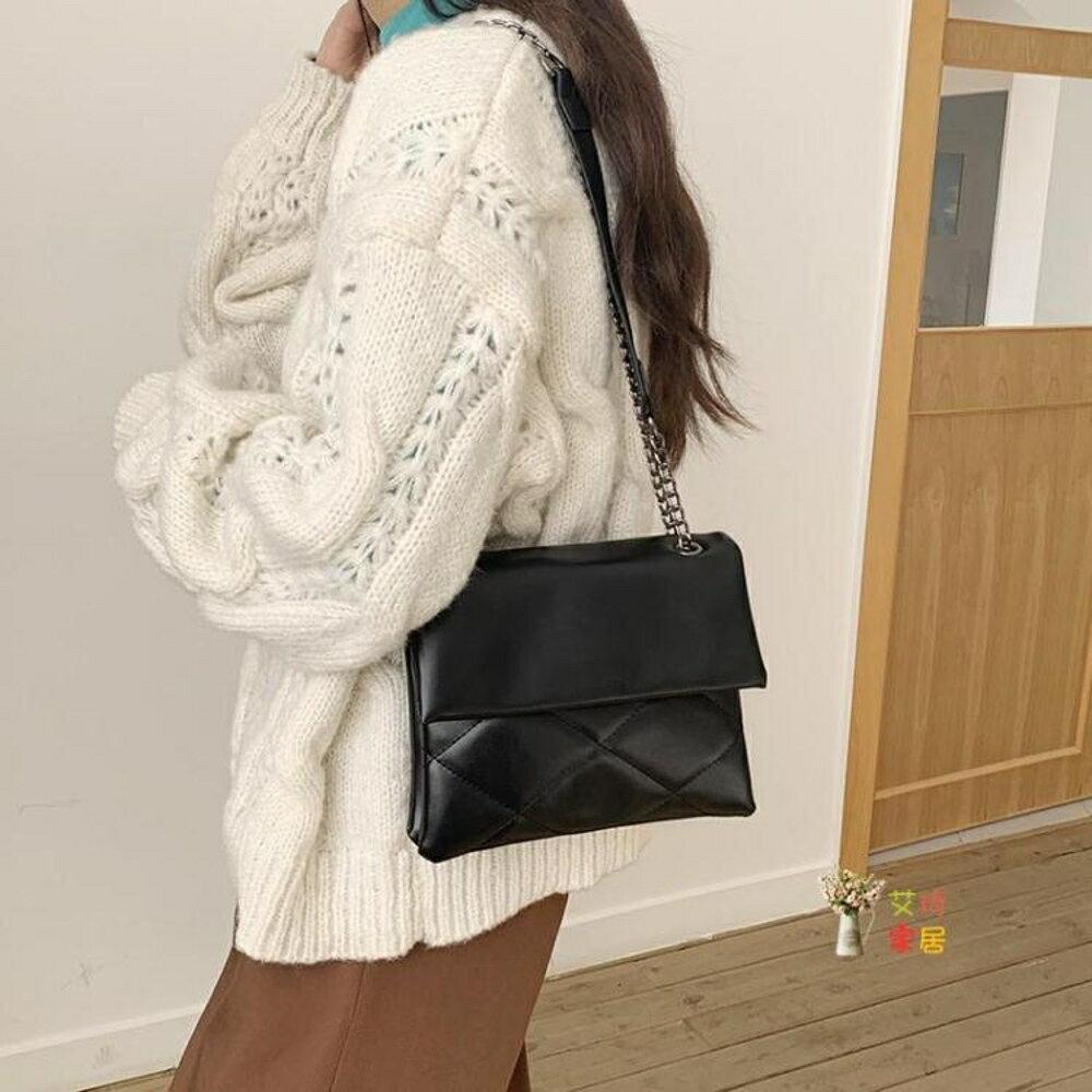 斜背包 高級感包包女2020新款潮小ck網紅時尚百搭黑色菱格鍊條單肩斜背包【99購物節】