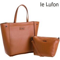 【le Lufon】托特包 棕黃色荔枝紋皮革大容量靈活版型實用兩用肩提子母包 (L) 兩用包 肩背包/手提包/斜背包/側背包/小包(棕黃/灰二色)
