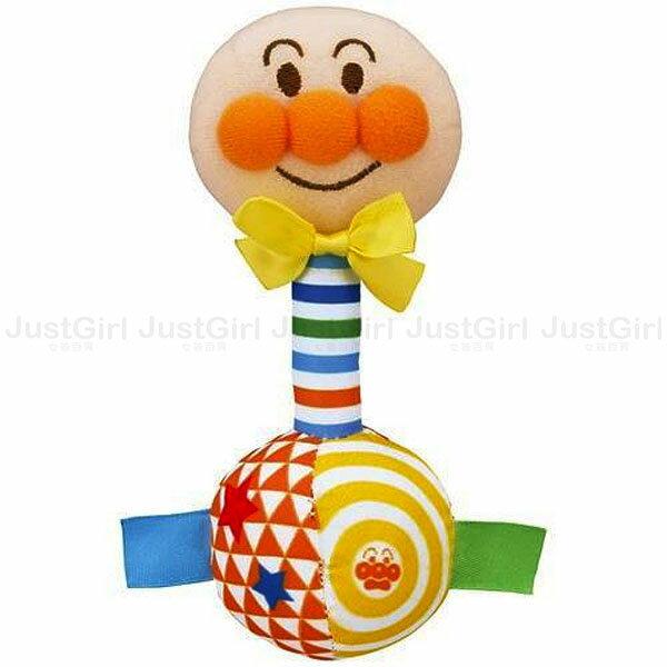 麵包超人 Anpanman 手搖鈴 小啞鈴 布製 0個月 嬰幼兒 玩具 正版日本進口 * JustGirl *