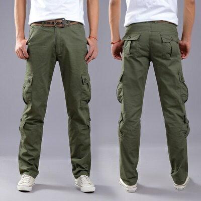 休閒長褲工裝褲-加厚多口袋直筒純色男褲子4色73rc35【獨家進口】【米蘭精品】