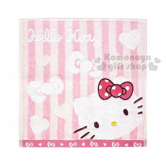 〔小禮堂〕Hello Kitty 小方巾《粉.直條紋.大臉.愛心.蝴蝶結.25x25cm》