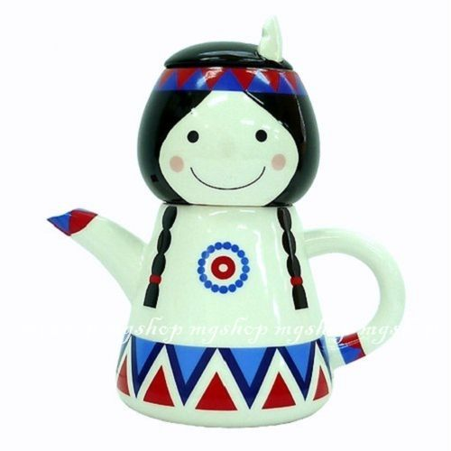 日本進口SUNART TEA FOR ONE印地安女孩 杯茶壺組