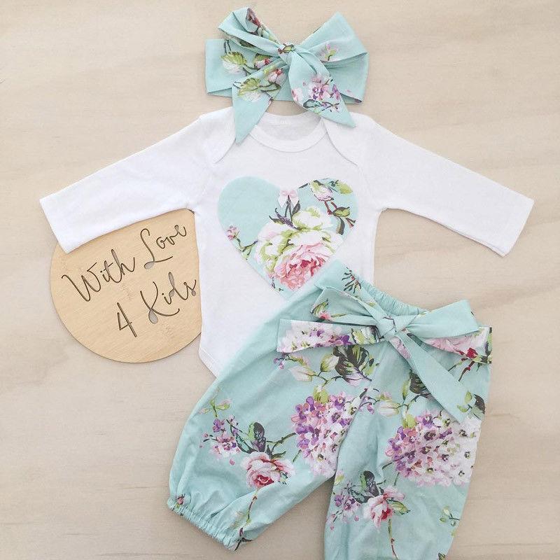 5fb756356561 3pcs Newborn Kid Baby Girl Floral Clothes Jumpsuit Romper Bodysuit Pants  Outfits 0