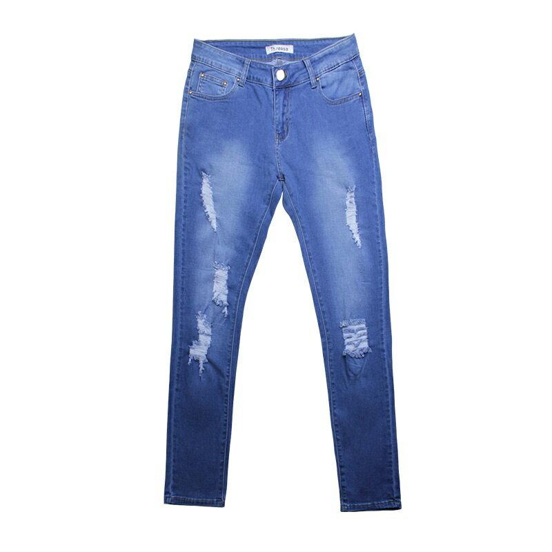牛仔褲丹寧小腳褲-破洞藍色修身彈力女長褲73wx23【獨家進口】【米蘭精品】 1