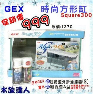 原價1370【水族達人】日本GEX《Square300時尚方形缸+外掛過濾器+硝化菌60ml+水質穩定劑60ml》