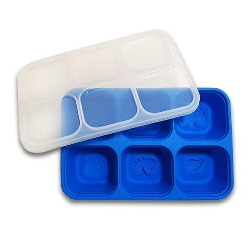 加拿大 MARCUS  MARCUS 動物樂園 矽膠副食品分裝保存盒-河馬(藍)★愛兒麗婦幼用品★