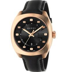 Gucci 古吉YA142309 時尚G LOGO面盤玫瑰金腕錶/黑面41mm