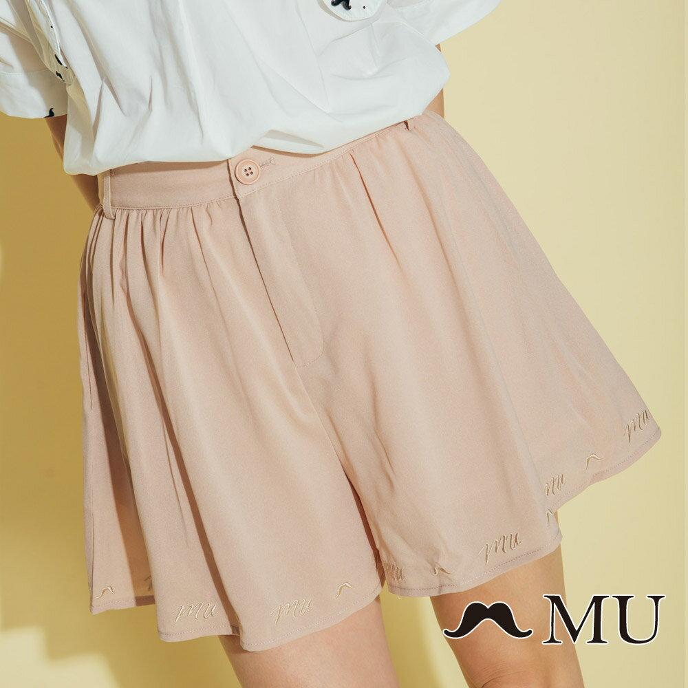 【MU】素面擺百搭低調刺繡短褲裙(2色)8325163 3
