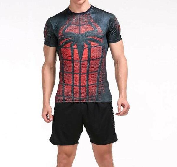 FINDSENSEMD日系時尚男黑紅蜘蛛標誌高彈力緊身運動短T訓練服跑步健身T恤3D圖案短袖T恤