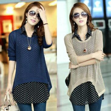 現貨 兩件組!韓版雪紡襯衫+鏤空長袖針織衫 - ORead 自由風格 0