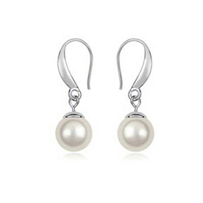 珍珠耳環 925純銀耳飾~完美約會簡約 母親節情人節生日 女飾品3色73bc33~ ~~米