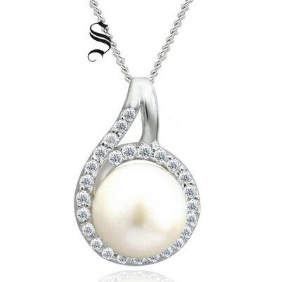 925純銀項鍊 珍珠吊墜~精美優雅鑲鑽 七夕情人節 女飾品73dh25~ ~~米蘭 ~