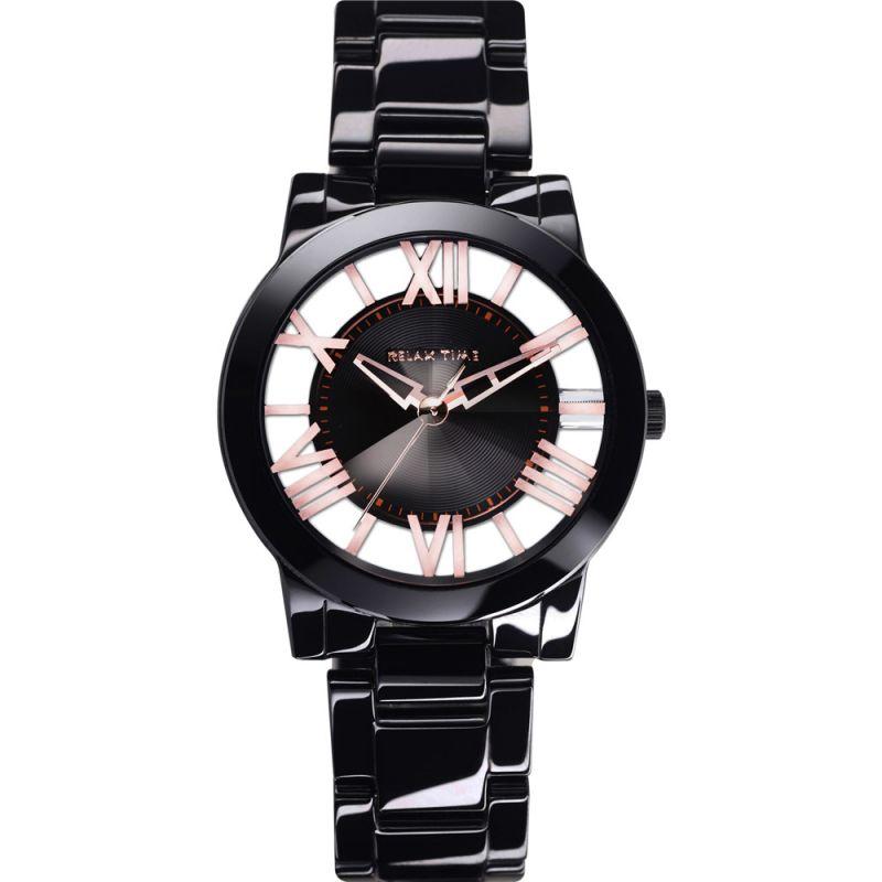 Relax Time RT-53-12黑玫瑰金羅馬鏤空陶瓷腕錶/黑面38.6mm