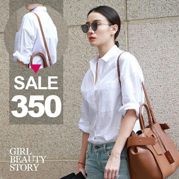 SISI【L6065】性感BF風超百搭翻領寬鬆休閒顯瘦純色襯衫上衣