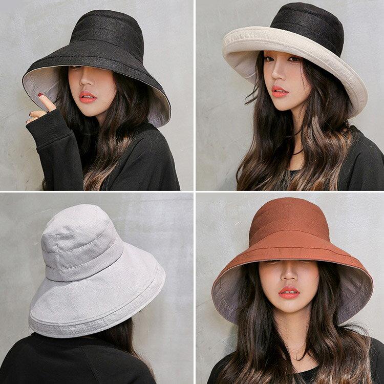 日系大帽沿雙面棉麻遮陽帽