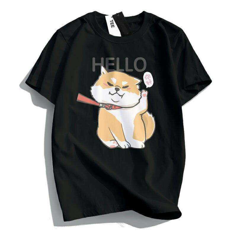 KUSO 搞笑 情侶裝 純棉短T MIT台灣製【YC686-17】萌寵 HELLO 你好 柴犬  動物萌寵 快速出貨 3