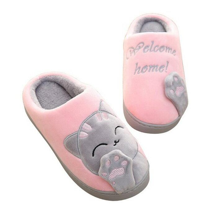 糖衣子輕鬆購【DZ0439】居家卡通貓咪保暖厚底防滑室內拖鞋棉拖鞋居家鞋兒童鞋