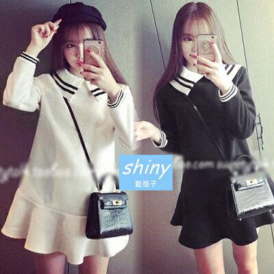 【V0233】shiny藍格子-輕甜主義.學院風黑白配色娃娃領長袖連身裙