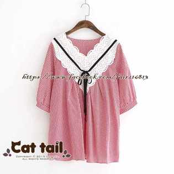 《貓尾巴》LZ-03056日系格子娃娃領休閒短袖上衣(森林系日系棉麻文青清新)