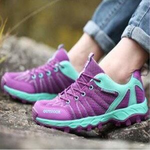 美麗大街【W16032】春秋戶外登山鞋運動鞋潮流情侶款透氣防滑耐磨底網面男女鞋(紫色)
