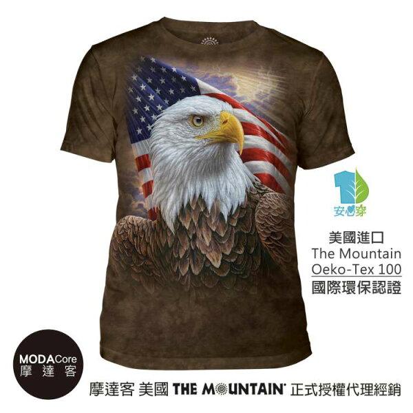 【摩達客】(預購)美國TheMountain都會系列國旗獨立鷹中性修身短袖T恤