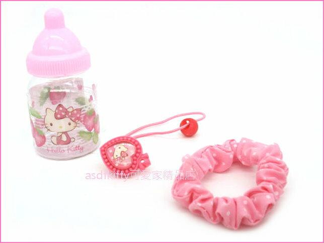 asdfkitty可愛家☆KITTY髮束/髮飾/髮圈組+奶瓶造型收納罐-日本正版商品