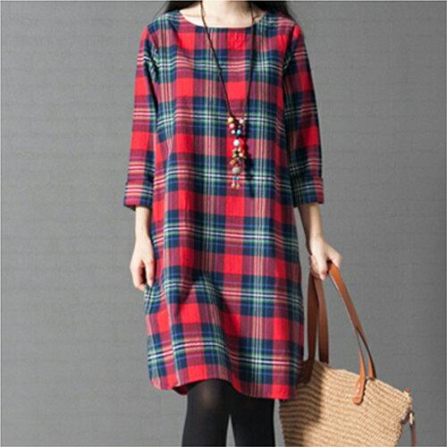 韓版寬鬆文藝範格子長袖棉麻連身裙 (2色,M~3XL) 【OREAD】 1