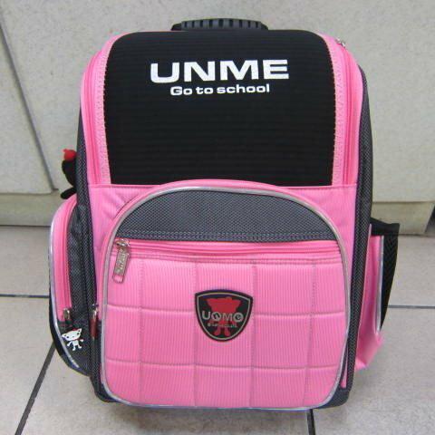 ~雪黛屋~UNME 超輕書包符合人體工學護脊保護NBR-CR複合附品牌娃娃手提袋台灣製造#3211粉紅